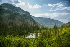 A beautiful, clean lake in the mountain valley in calm, sunny day. Mountain landscape with water in summer. Tatry mountains in Slovakia, Europe royalty free stock image