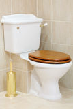 Beautiful, clean and white toilet with wooden lid Stock Photography