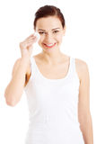 Beautiful clean woman with cotton pads. Royalty Free Stock Image