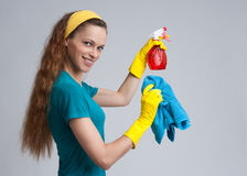 Beautiful cleaning girl Stock Image