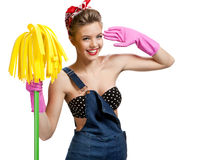 Beautiful cleaninig lady wearing pink rubber protective gloves holding cleaning mop Royalty Free Stock Photo