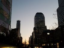 Cityscape at dusk, lower Manhattan New York City stock photography