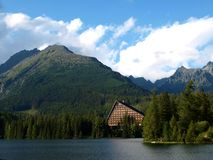 Beautiful clear mountain lake or tarn with landscape mountains. In Slovakia in Vysoke Tatry - Strbske Pleso stock photos