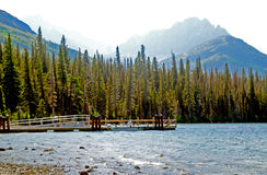 Beautiful clear waters of lake in Glacier National Park. Royalty Free Stock Photo
