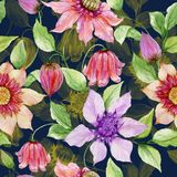 Beautiful clematis flowers on climbing twigs against dark blue background. Seamless floral pattern. Watercolor painting. Hand painted illustration. Fabric vector illustration