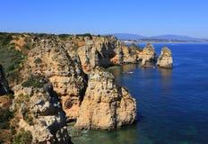 Beautiful cliff formations, Atlantic Coast, Lagos, Western Algarve, Stock Photo