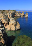 Beautiful cliff formations, Atlantic Coast, Lagos, Western Portugal. Royalty Free Stock Photos