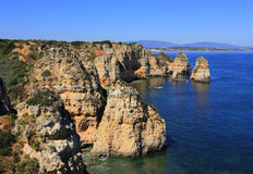Beautiful cliff formations, Atlantic Coast, Lagos, Western Portugal. Stock Photography