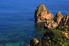 Beautiful cliff formations, Atlantic Coast, Lagos, Western Portugal. Stock Image