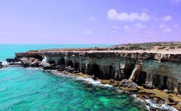 Beautiful cliff of the sea coast, the island of Cyprus stock photography