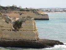 Beautiful cliffs of Algarve, in the South of Portugal. Stock Photos