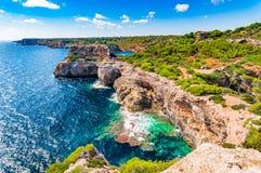Mallorca, cliffs rocks at seaside of Santanyi. Beautiful cliffs coast sea landscape on Majorca island, Spain Mediterranean Sea Royalty Free Stock Images