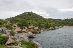 Beautiful cliffs and lovely huts at Koh Sichang,Chonburi,Thailand Royalty Free Stock Images