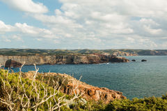 Beautiful cliffs on west coast of Portugal near Carrapateira, Rota Vicentina at april Stock Image