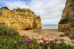 Beautiful cliffy beach in Albufeira, Algarve, Portugal royalty free stock photo