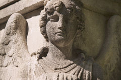 Beautiful close up af a face angel stone sculpture with a sweet Royalty Free Stock Photos