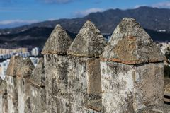 Beautiful close up of the castle wall of Gibralfaro stock images