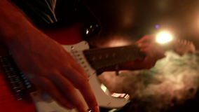 Beautiful close up of the electric guitar while playing stock footage