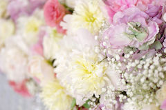 Beautiful close-up of a flower. Arrangement with purple hydrangea and pink roses, peonies, anemones and lilac flowers Stock Image