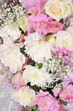 Beautiful close-up of a flower arrangement. With purple hydrangea and pink roses, peonies, anemones and lilac flowers Royalty Free Stock Image