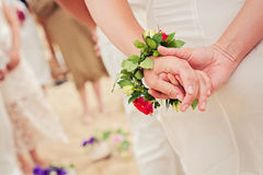 Beautiful close up picture of bride flower bracelet Stock Photography
