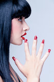 Beautiful Close Up Profile Of Young Lady With Perfect Nails Stock Photos