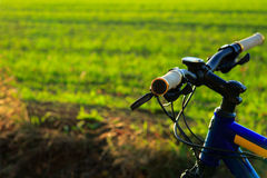 Beautiful close up scene of bicycle at sunset, Stock Photography
