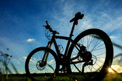 Beautiful close up scene of bicycle at sunset, Stock Photo