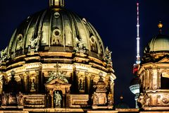 Beautiful close-up view of the Berlin Cathedral at night royalty free stock photography