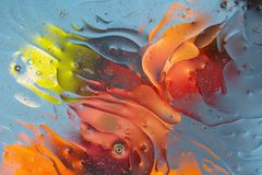 Beautiful close up view red, orange, blue, yellow colorful abstract design, texture. royalty free stock photo