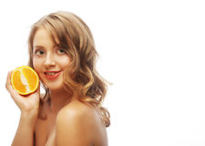 Beautiful close-up young woman with oranges Royalty Free Stock Image