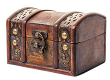 Beautiful closed vintage wooden chest treasure isolated on white Royalty Free Stock Image