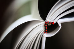 A beautiful closeup of a book in dark red cover and with red bookmark. Stock Image