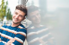 Beautiful closeup of cheerful positive young man royalty free stock photo