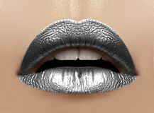 Beautiful closeup with female plump lips with silver color makeup. Christmas celebrate make-up, glitter sparkles on lip Royalty Free Stock Image