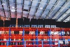 Beautiful closeup metal steel and aluminium frame buildings factory and cargo construction design stock photography