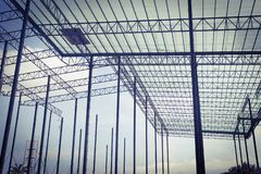 Beautiful closeup Metal steel frame buildings construction design royalty free stock images