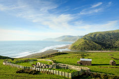 Beautiful closeup view of ranch buidings and corals amid  green hills along Pacific ocean. Beautiful closeup view of ranch buidings and green hills along Pacific Royalty Free Stock Image