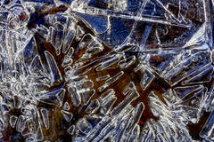Beautiful Closeup Winter Colorful Background With Icy Frost Patterns Stock Photo