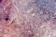Beautiful Closeup Winter Colorful Background With Icy Frost Patterns Royalty Free Stock Images
