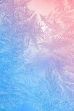 Beautiful Closeup Winter Colorful Background With Icy Frost Patterns Stock Images