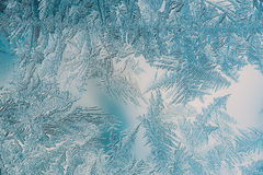 Beautiful Closeup Winter Colorful Background With Icy Frost Patterns Royalty Free Stock Photo