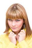 Beautiful closeup  woman face and shoulder Stock Photos