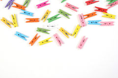 Beautiful clothespins scattered Royalty Free Stock Photos