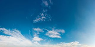 Beautiful cloud formation panorama on a blue sky Royalty Free Stock Images