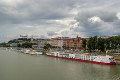 Overlooking the city and Bratislava Castle from the Old Bridge. royalty free stock photos