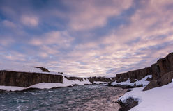 Beautiful cloud and landscape near Godafoss falls, Iceland. royalty free stock photo