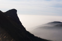 Beautiful cloud layer mountain cliff view Royalty Free Stock Photography