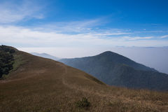 Beautiful cloud layer mountain  view trekking route Royalty Free Stock Images