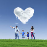 Beautiful cloud love and family on blue sky Royalty Free Stock Photo